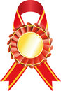Gold medal with red ribbon Stock Image