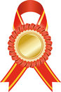 Gold medal with red ribbon Royalty Free Stock Photos