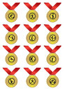 Gold medal with red ribbon for sports vector illustration medals different Stock Photos