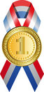 Gold medal with ribbon Stock Photos