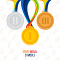 Gold medal, silver medal, bronze medal against the background Royalty Free Stock Photo