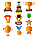 Gold medal and trophy icons a vector illustration of icon sets Stock Photo