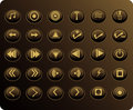 Gold Media Web Buttons Stock Photography