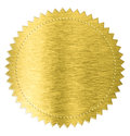 Gold metal foil sticker seal label isolated with clipping path included Stock Images