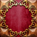 Gold metal frame on red metal Royalty Free Stock Photo