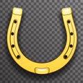 Gold metal horseshoe luck symbol fortune talisman transparent background icon
