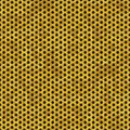 Gold metal perforated sheet seamless pattern texture background with honeycomb hexagon Royalty Free Stock Photo