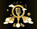Gold microphone vector  Stock Photos