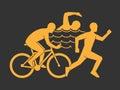 Gold modern logo triathlon club. Royalty Free Stock Photo