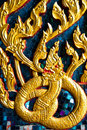 Gold Naga in Thailand Royalty Free Stock Image