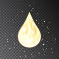 Gold neon oil drop isolated on transparent background.