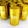 Gold oil barrels Stock Images