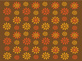Gold and orange retro flowers on brown background Stock Photo