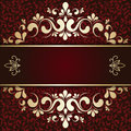 Gold ornament on a burgundy background card Royalty Free Stock Photo