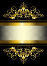 Gold ornament and gold stripes with ribbon Royalty Free Stock Photo