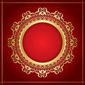 gold ornamental vector frame with transparent shadow on red