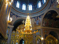 Gold ornated interior of orthodox church in europe Stock Photos