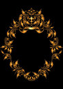 Gold oval frame in the Gothic style.Frame. Stock Image
