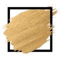 Gold paint in black square brush strokes