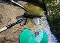 Gold panning and gem mining Royalty Free Stock Photo