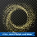 Gold particle swirl circle effect. Vector golden glitter star shine twirl trace Royalty Free Stock Photo