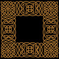 Gold pattern in a frame in the arab or celtic style muslim ornament of knots weaves and decorative forms Royalty Free Stock Images