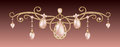 Gold pendant with pink diadem with pearls Festive jewelery with diamonds