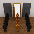 Gold people select door way Royalty Free Stock Photos