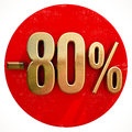 Gold 80 Percent Sign on Red Royalty Free Stock Photo