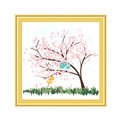 Gold picture frame with cute birds and flower tree vector on white background Royalty Free Stock Photo