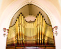 Gold Pipes on an Old Pipe Organ Royalty Free Stock Photo