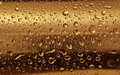 Gold plate with water drops on the rounded surface. Royalty Free Stock Photo