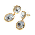 Gold plated earring studs with large zircons Stock Image