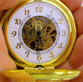Gold pocket watch Royalty Free Stock Photo