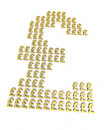 Gold pound signs d render isolated on white and clipping path Royalty Free Stock Image