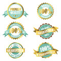 Gold premium quality guarantee labels set of and turquoise and badges emblems can be used for product and service labelling Royalty Free Stock Images