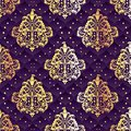 Gold and purple seamless Rococo floral Stock Photos