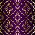 Gold-on-Purple seamless swirly Indian pattern Royalty Free Stock Photo