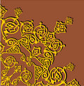 Gold quadrant ornament on brown Stock Image