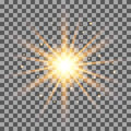 Gold rays light effect on transparent background. Royalty Free Stock Photo