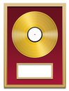 Gold record plaque blank frame with that can be labeled in a golden on red ground isolated vector illustration over white Royalty Free Stock Photography