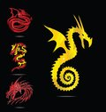 Gold and red dragons emblems set Royalty Free Stock Photo