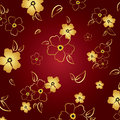 Gold & red floral background Stock Photo