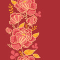 Gold and red flowers vertical seamless pattern vector elegant background ornament Stock Photos
