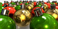Gold Red And Green Christmas Baubles Floor Stock Images