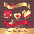 Gold and red hearts and ribbons Valentine set Royalty Free Stock Images