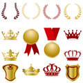 Gold and red ornaments set Royalty Free Stock Images