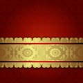 Gold on red ornate vintage background in victorian style vector illustration Royalty Free Stock Images
