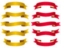 Gold and Red Ribbons Set Royalty Free Stock Photo