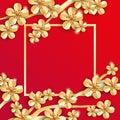 Gold red sakura flower banner